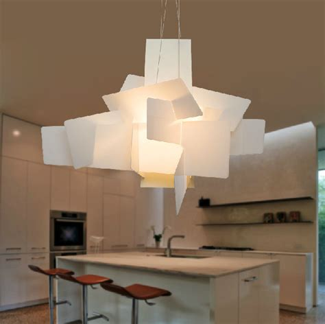 big light fixtures create a great visual effect with airy big chandelier