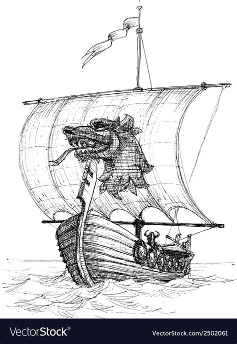 how to draw a longboat long boat drakkar sketch royalty free vector image