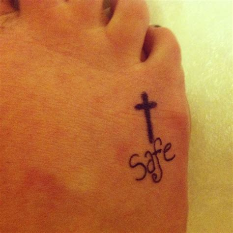 cross tattoos with words foot cross without the word safe tattoos