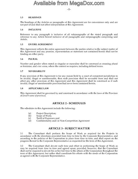 Canada Consulting Contract And Confidentiality Agreement Legal Forms And Business Templates Restaurant Consulting Contract Template