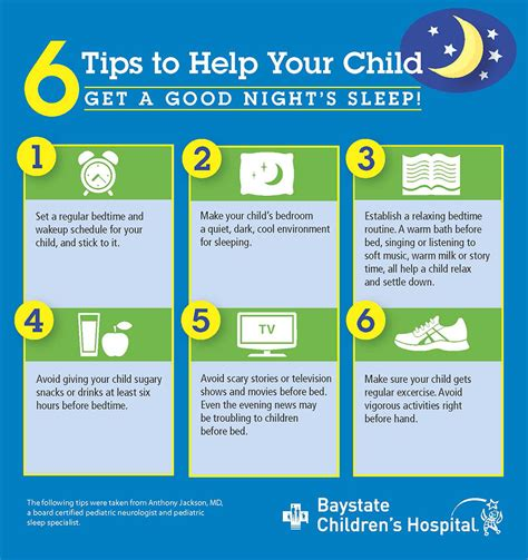 infographic 6 tips to help your child sleep baystate health springfield ma
