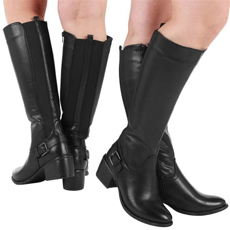 high heel boots for wide calves avaline womens wide calf stretch low mid heels knee