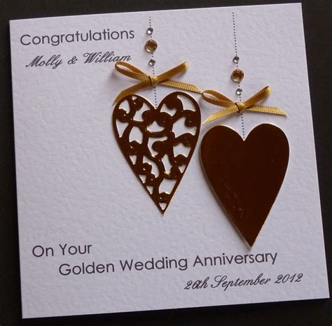 Wedding Anniversary Handmade Cards - handmade personalised golden 50th wedding anniversary