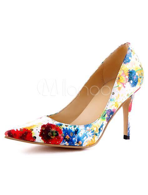 Zra Floral Rantai Original formal faux leather floral print spike heel dress pumps milanoo