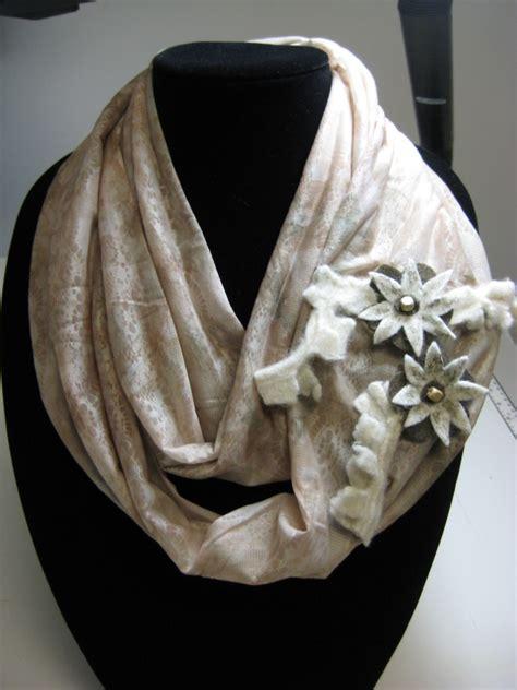 Handmade Infinity Scarf - infinity scarf with handmade flowers handmade michigan