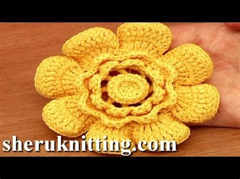 crochet layered flower pattern youtube crochet flower with cupped petals tutorial 95 youtube