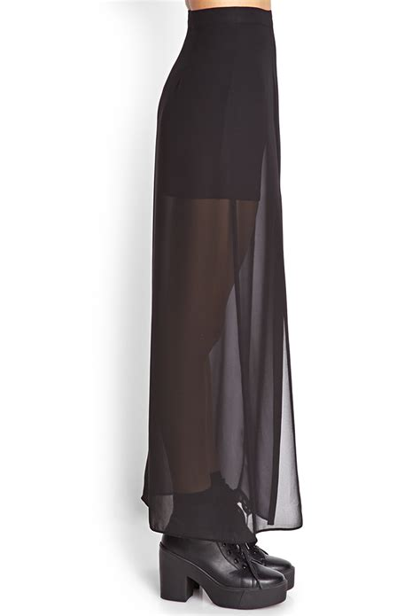 forever 21 m slit sheer maxi skirt in black lyst