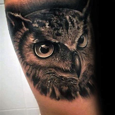 tattoo owl realistic black and grey ultra realistic guys 3d owl arm tattoo