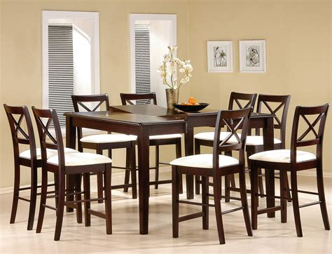 Tall Dining Room Set by Cappuccino Finish Counter Height Dining Room Set Counter