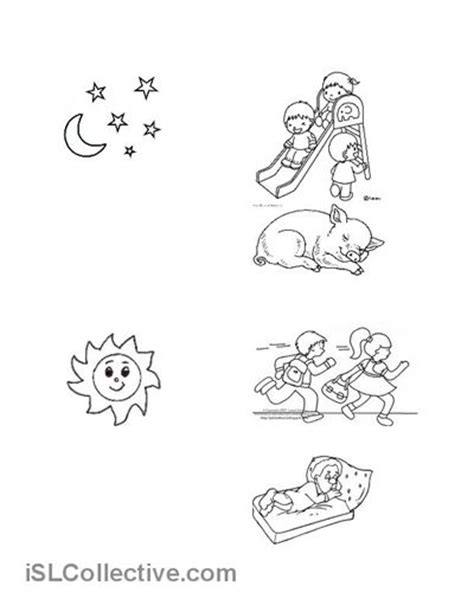 day and night coloring page for kindergarten 86 best images about day night on pinterest esl