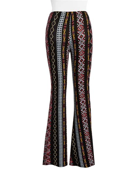 black patterned pants lord taylor patterned wide leg pants in black bordeaux