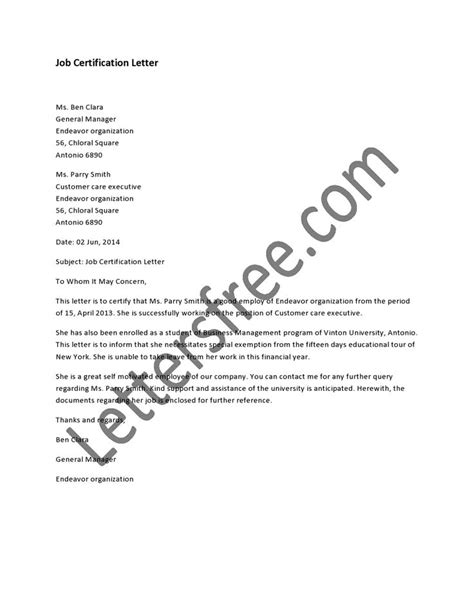 letter of certification of previous employment 1000 images about sle certification letter on