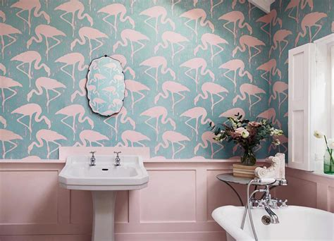 flamingo wallpaper toilet flamingos bathroom wallpaper ideas
