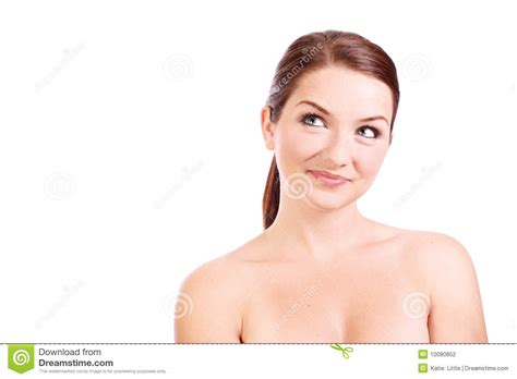 a woman looking at smiling woman looking up to the side stock photo image 10080852