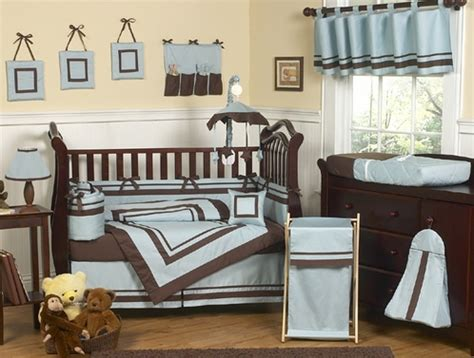 Brown And Blue Crib Bedding Blue And Brown Hotel Modern Baby Bedding 9 Pc Crib Set Only 189 99