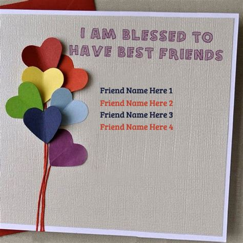 how to make a bff card blessed to best friend greeting card write name on image