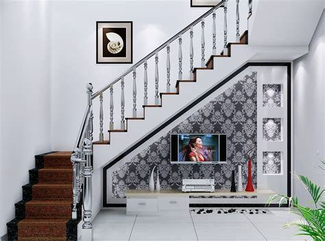 Underneath Stairs Design Villa Interior Design For Tv Wall Staircase