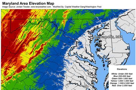 maryland map elevation late season snow w warming trend next week 18 mar