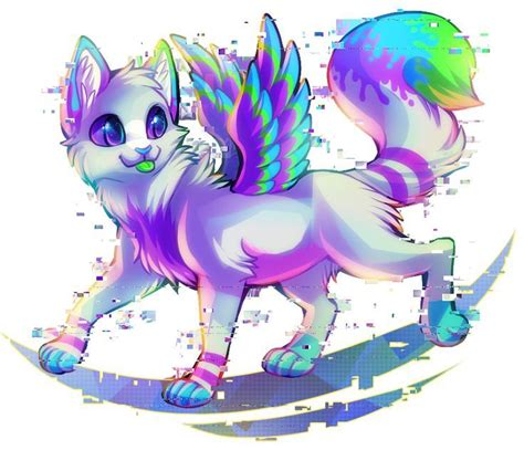 cute anime cat with wings drawings rainbow kittens with wings anime animals on pinterest
