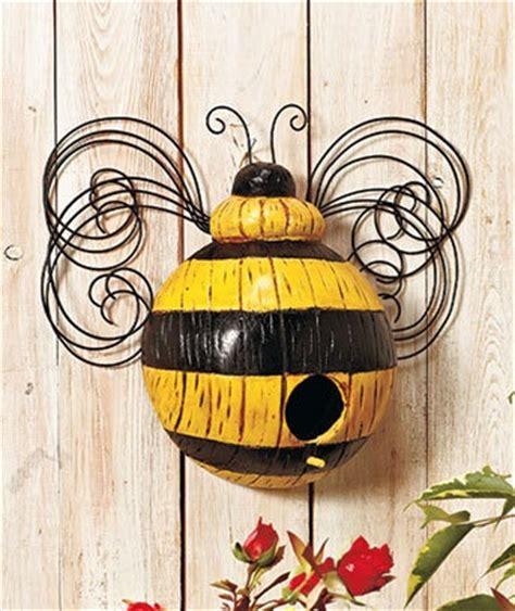 Bee Garden Decor Bee Design Whimsical Birdhouse Yard Decorations Pinterest