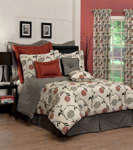 4pc stylish red black gray transitional floral design