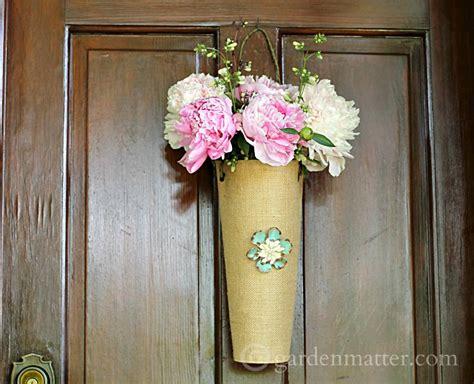 hanging burlap flower vase hearth vine