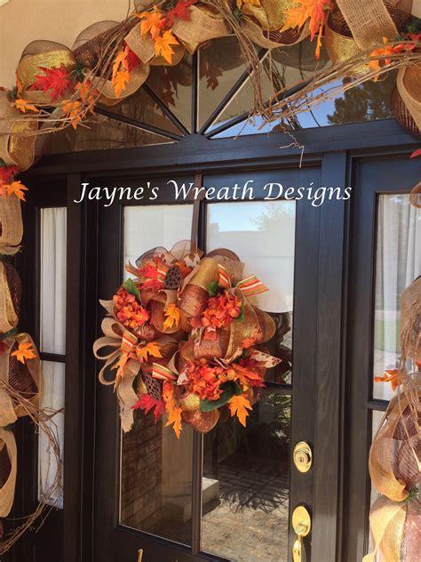 autumn door garlands close    cavender front door