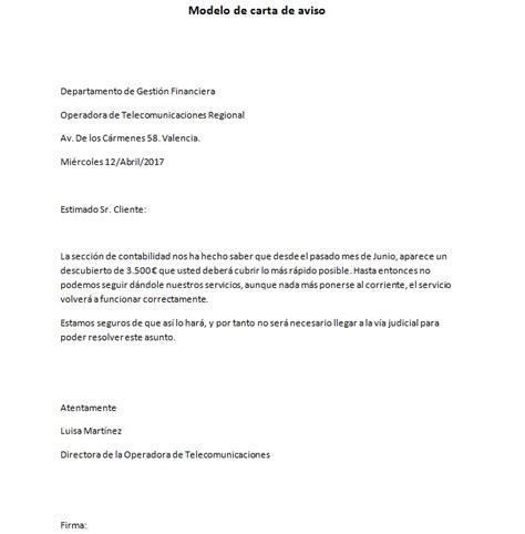 modelos de cartas formatos y ejemplos de cartas ejemplo de carta de aviso formal modelo de carta de