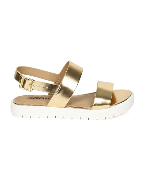 metallic flatform sandals sandals soda ce38 metallic open toe shiny tip