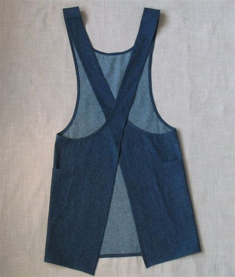 free pattern japanese apron only 1 left japanese style cross back denim smock apron