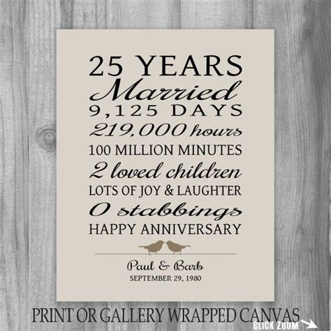 25 Year Anniversary Gift 25th Anniversary Art Print