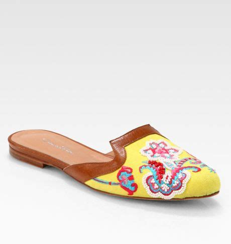 house shoes in spanish oscar de la renta spanish embroidered canvas leather mule slippers in yellow lyst