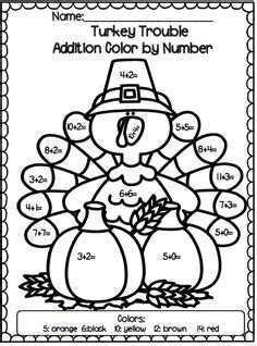 turkey addition coloring page thanksgiving math ideas on pinterest brain teasers task