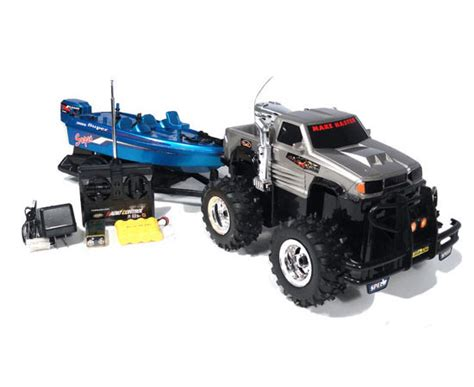 rc trucks with boats gmc sierra crazy hauler electric rtr rc truck with boat
