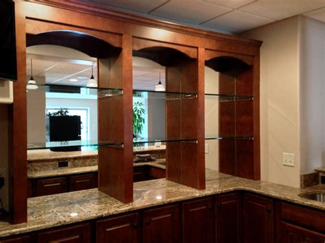 bar mirrors with 1 2 quot shelves traditional basement