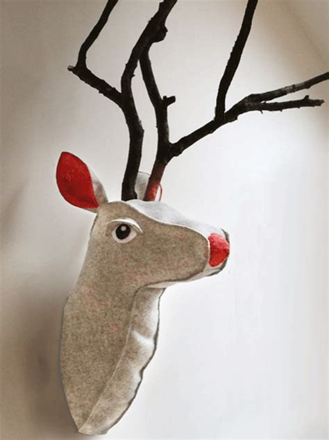 pattern for felt reindeer head sew along rudolph faux taxidermy head pattern tutorial
