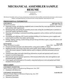 mechanical assembler resume examples