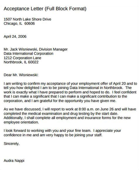 Offer Letter To New Employee Acceptance Of Employee Offer Letter Employee Offer