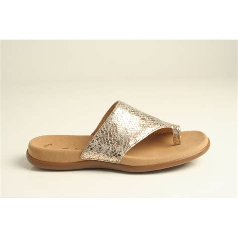 gabor sandals gabor gabor style lanzarote gold textured leather toe