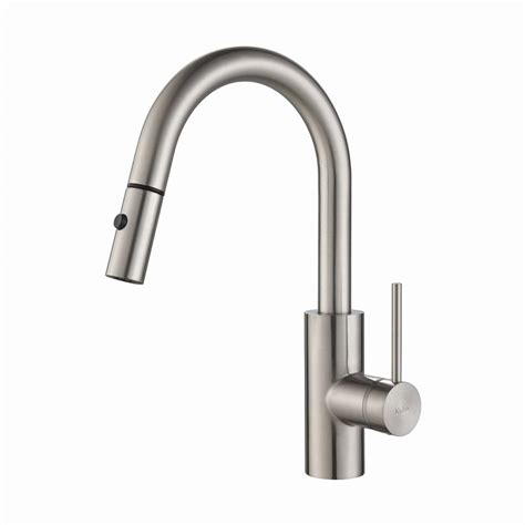pull kitchen faucets stainless steel kraus oletto single handle pull kitchen faucet with dual function sprayer in stainless