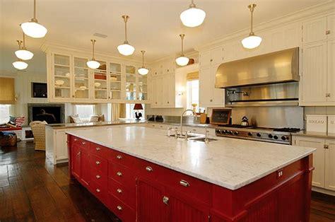 red kitchen island summers in bridgehton home bunch interior design ideas