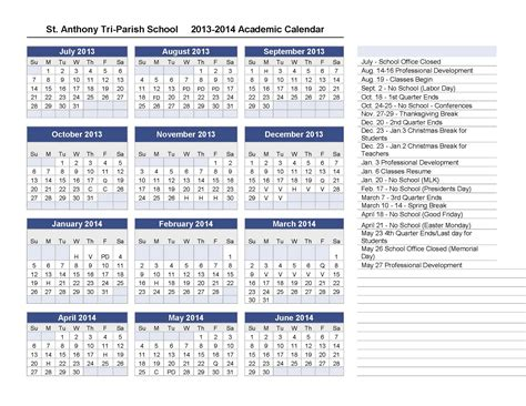 10 best images of 2013 academic calendar template free
