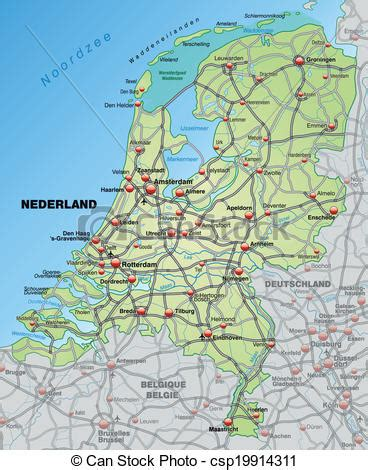 netherlands map dwg vector clip of map of netherlands with highways in