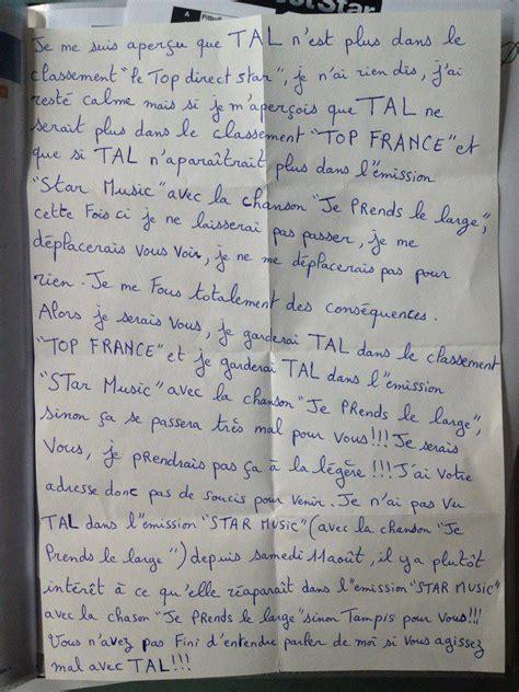 sta lettere lettre d un fan de tal 224 direct