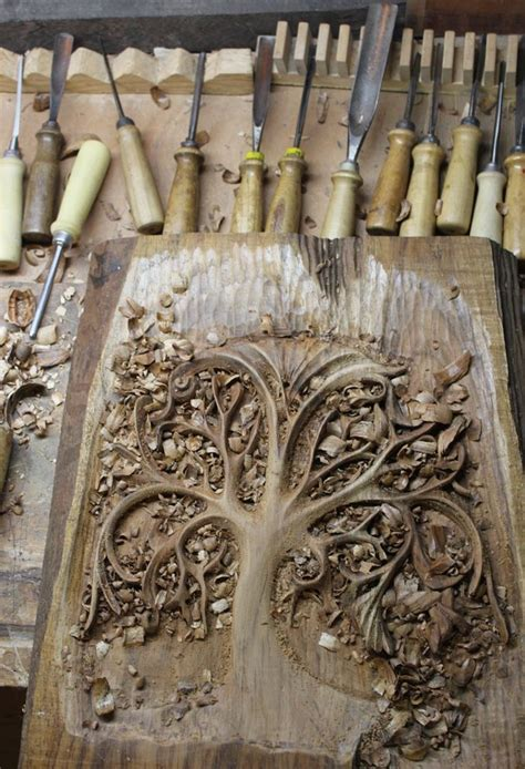 woodworking carving woodcut tree curvy limbs woodblock relief printing