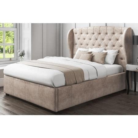 Beige Ottoman Bed Safina Wing Back Ottoman Bed In Beige Velvet Furniture123