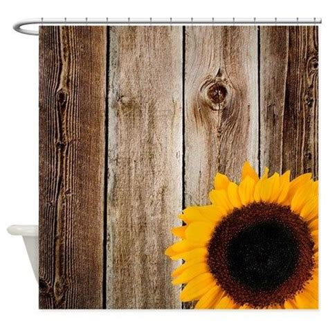 Rustic barn wood sunflower shower curtain perfect for a western or country themed bathroom