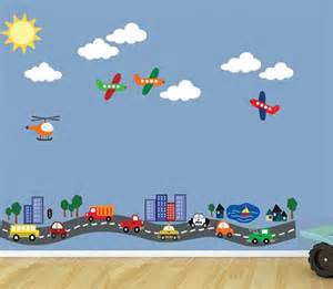 Transportation Wall Stickers Reusable Road With Cars Planes Transportation Wall Decal 616