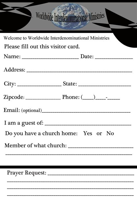 church member contact card template church contact card template 28 images visitor card