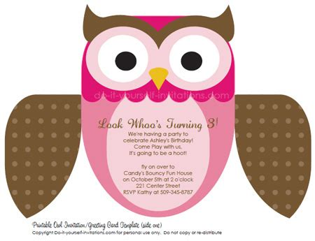 owl invitation template printable diy birthday invitations owl invites